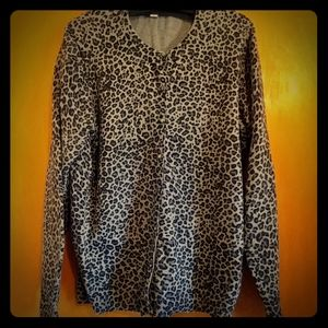 Leopard print cardigan in black and gray